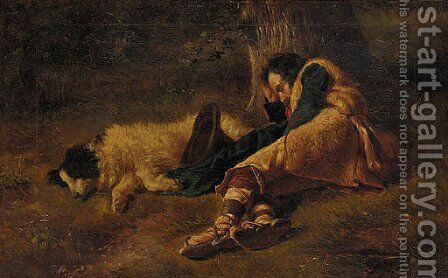 A shepherd and his dog taking a nap under a tree by Italian School - Reproduction Oil Painting