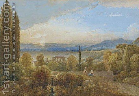Above the Mediterranean coast by Italian School - Reproduction Oil Painting