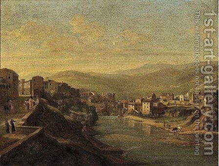 An Italianate riverside town at dusk by Italian School - Reproduction Oil Painting