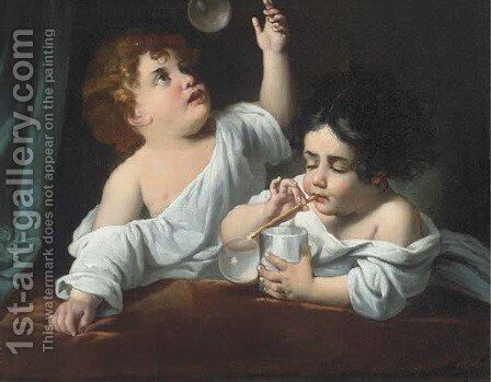 Blowing bubbles by Italian School - Reproduction Oil Painting