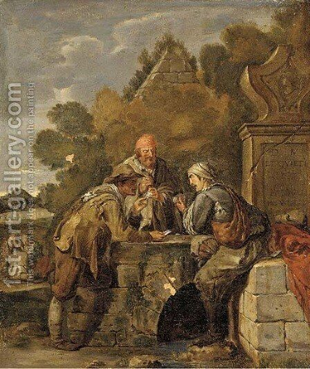 Cheating at cards by Italian School - Reproduction Oil Painting