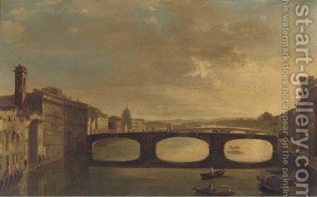 Dusk on the Arno, Florence by Italian School - Reproduction Oil Painting