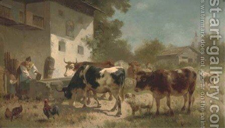 Figures and animals in a sunny farmyard by Italian School - Reproduction Oil Painting