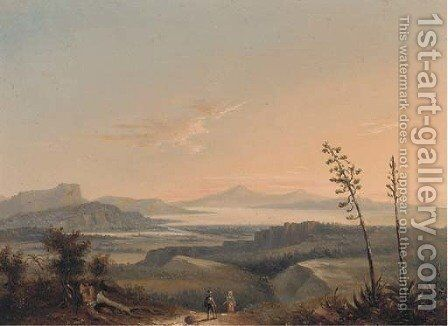 Figures returning home in an Italianate landscape by Italian School - Reproduction Oil Painting