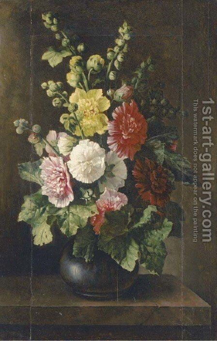 Mixed flowers in a vase on a plinth by Italian School - Reproduction Oil Painting