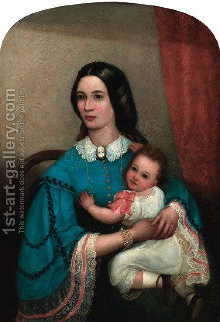 Portrait Of A Mother And Child by Italian School - Reproduction Oil Painting