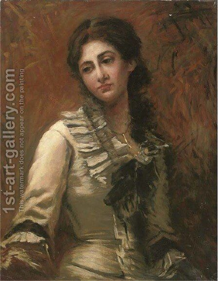 Portrait of Miss Vercesi, half-length, in a white dress with black bow by Italian School - Reproduction Oil Painting