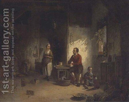 Preparing the meal by Italian School - Reproduction Oil Painting