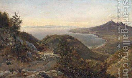 Shepherds and their sheep above the bay of Naples by Italian School - Reproduction Oil Painting