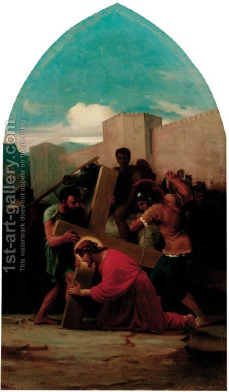 Six Stations of the Cross by Italian School - Reproduction Oil Painting