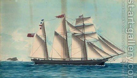 The barquentine Gladstone, calling for a pilot by Italian School - Reproduction Oil Painting
