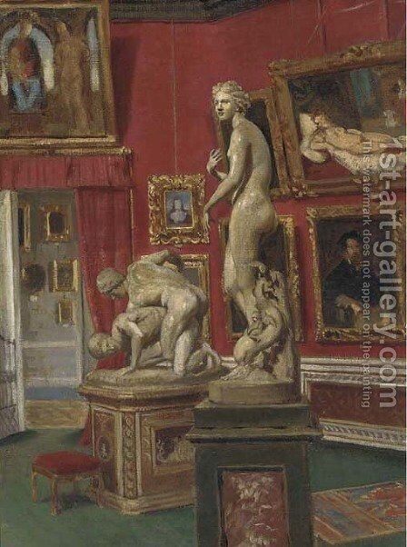 The Gallery in the Pitti Palace, Florence by Italian School - Reproduction Oil Painting