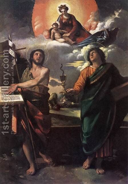 The Virgin Appearing to Sts John the Baptist and John the Evangelist 1520s by Dosso Dossi (Giovanni di Niccolo Luteri) - Reproduction Oil Painting