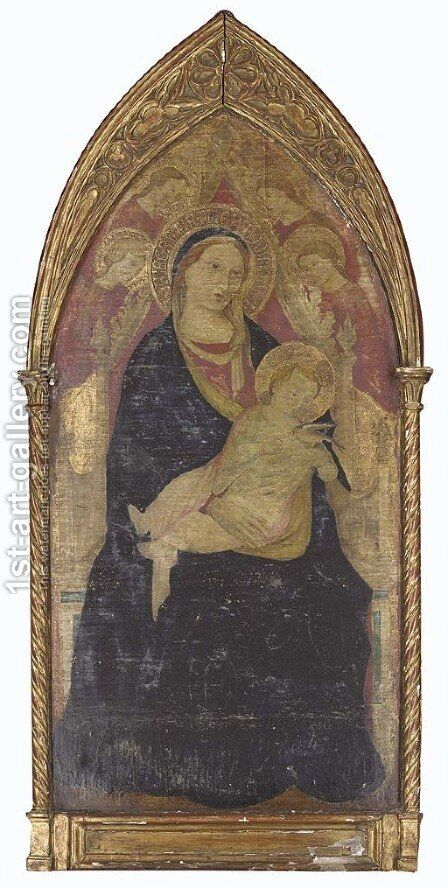 The Virgin and Child enthroned, surrounded by angels by Italian School - Reproduction Oil Painting