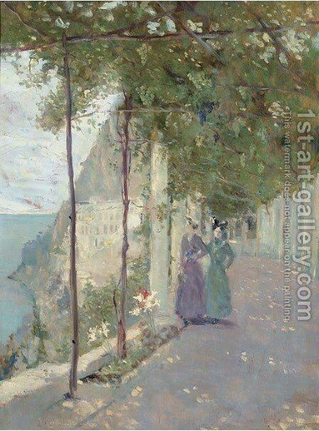 A stroll with a friend, Sorrento by Italian School - Reproduction Oil Painting