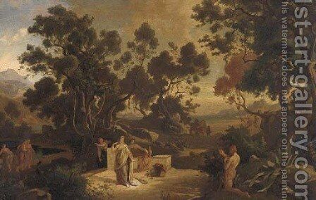Classical figures at a Mediterranean shore, a citadel beyond by Italian School - Reproduction Oil Painting
