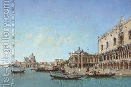 Fruit sellers before the Doge's Palace, Venice by Italian School - Reproduction Oil Painting