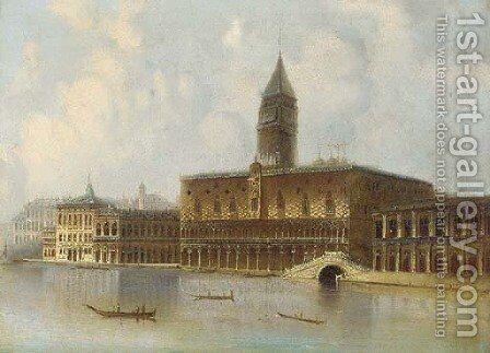 Gondolas before the Doge's Palace, Venice by Italian School - Reproduction Oil Painting