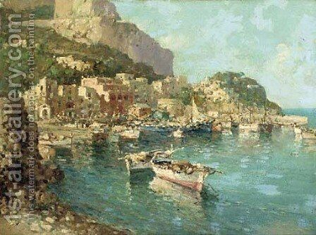 A fishing village on the Amalfi coast by Italian School - Reproduction Oil Painting