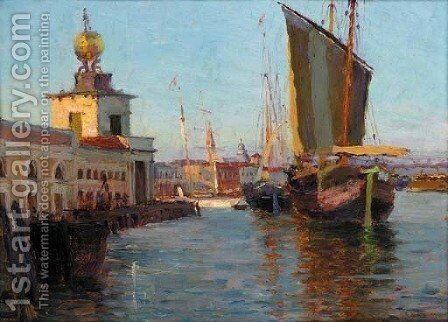 Boats by the Dogana di Mare, Venice by Italian School - Reproduction Oil Painting