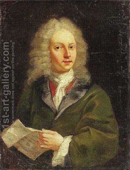 Portrait of a gentleman, said to be Joseph Addison (1672-1719) by Italian School - Reproduction Oil Painting