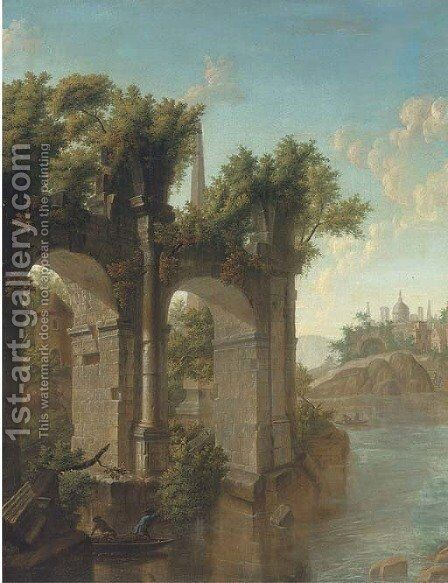 Fishing by the ruins by Italian School - Reproduction Oil Painting