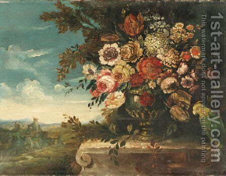 An Urn of Flowers and a Parrot on a Ledge before a Landscape by Italian School - Reproduction Oil Painting