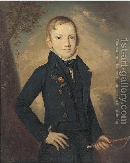 Portrait of a boy, small three-quarter-length, in a dark blue coat and waistcoat by Italian School - Reproduction Oil Painting