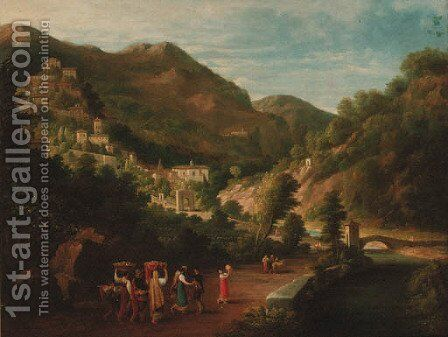 Peasants dancing on the way to market, a hilltop beyond by Italian School - Reproduction Oil Painting