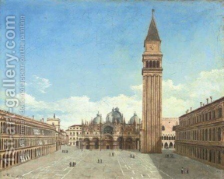 Before St Mark's Cathedral, Venice by Italian School - Reproduction Oil Painting