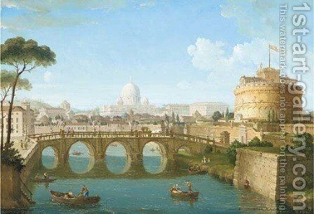 Castel Sant'Angelo in the foreground, St Peter's in the distance by Italian School - Reproduction Oil Painting