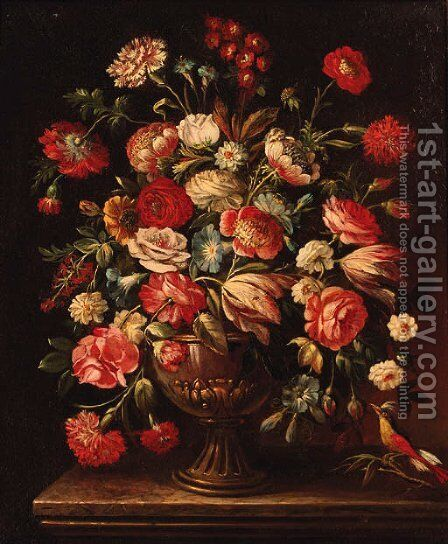 Flowers 3 by Italian School - Reproduction Oil Painting