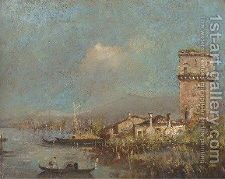 A Gondola on the Venetian lagoon by a settlement by Italian School - Reproduction Oil Painting