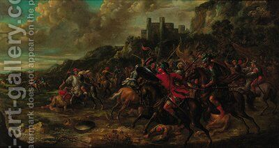 A cavalry engagement by Italian School - Reproduction Oil Painting