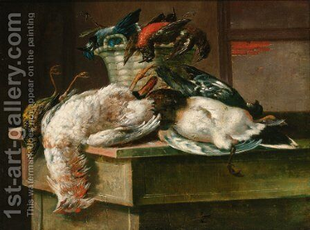 Dead game with a basket and a plate in an interior by Italian School - Reproduction Oil Painting