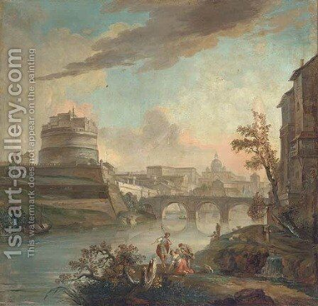 A capriccio view of the Tiber, with the Castel Sant' Angelo and Saint Peter's, Rome by Italian School - Reproduction Oil Painting