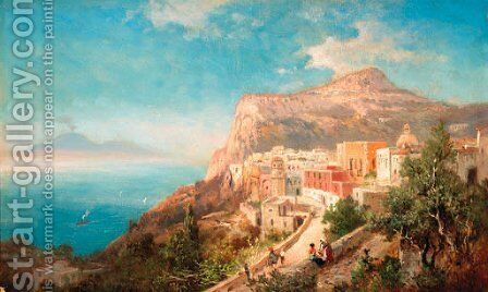 Figures on a coastal path with Capri beyond by Italian School - Reproduction Oil Painting