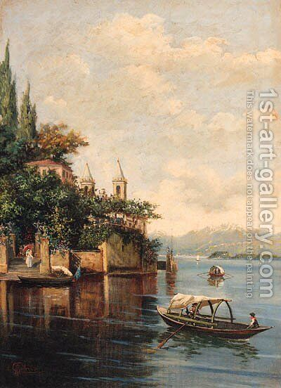 Figures on an Italianate Lake by Italian School - Reproduction Oil Painting