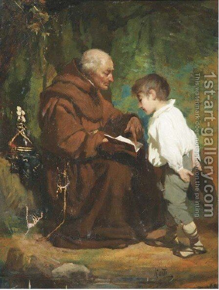 Monk reading to a boy by Italian School - Reproduction Oil Painting