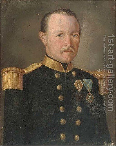 Portrait of an officer, though to be from the Rifle Company of the 1st Swiss Regiment of the army of the Kingdom of the Two Sicilies by Italian School - Reproduction Oil Painting