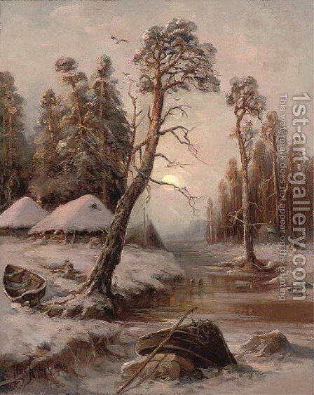 Winter landscape with lake by Iulii Iul'evich (Julius) Klever - Reproduction Oil Painting