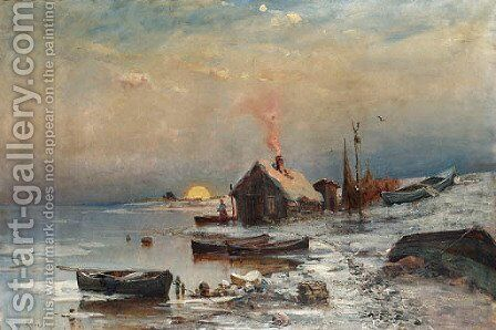 Fisherman's Cottage at Sunset by Iulii Iul'evich (Julius) Klever - Reproduction Oil Painting
