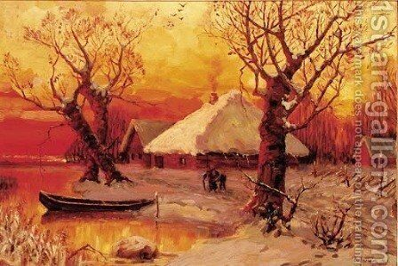 Winter - Lakeside Settlement at Sunset by Iulii Iul'evich (Julius) Klever - Reproduction Oil Painting