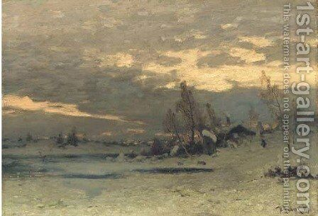Winter morning by Iulii Iul'evich (Julius) Klever - Reproduction Oil Painting