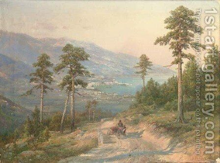 A carriage on a coastal path by Ivan Avgustovich Vel'ts - Reproduction Oil Painting