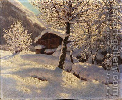 Country Cabin in heavy Snow by Ivan Fedorovich Choultse - Reproduction Oil Painting