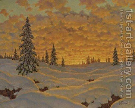 Sunset in Finland by Ivan Fedorovich Choultse - Reproduction Oil Painting