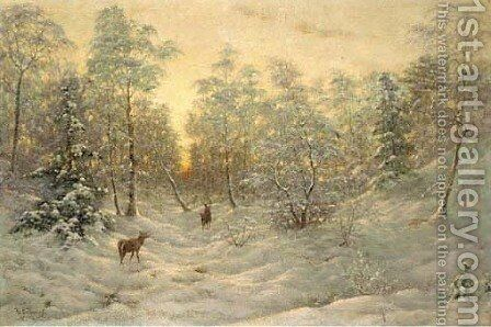Deer in a snowy landscape at dusk by Ivan Fedorovich Choultse - Reproduction Oil Painting