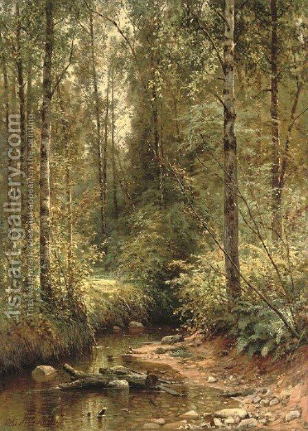 A forest stream by Ivan Shishkin - Reproduction Oil Painting
