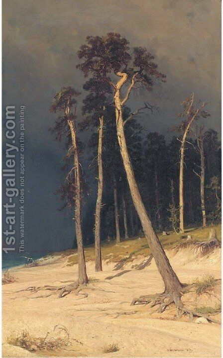 Sandy shore by Ivan Shishkin - Reproduction Oil Painting